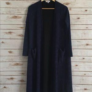 LuLaRoe Blue Textured Sarah Cardigan Size Small